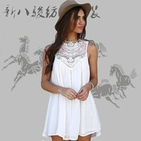 Wholesale Women S Cotton Halter Tops - 2016 New Women Dresses Sleeveless Long Tops Chiffon Lace Dress Blouse Shirt Ladies Beach BOHO Short Mini Dress Plus Size