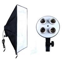 Wholesale Softbox Light Soft Box - Photographic Equipment Photo Studio Portable Soft Box Kit Video Four Socket Lamp Holder+50*70cm Softbox Photo Light Box