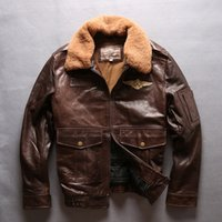 Wholesale Force Leather Jacket - A2 air force flight bomber jackets AVIREXFLY Flocking leather jackets with lamb fur collar