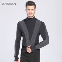 Wholesale dance costumes male - Latin Dance Shirt for Men Jumpsuit CHEAPEST CAD083 Male Long Sleeve Samba Dance Costumes Tango Samba Costume Dance Clothes Latin Shirts