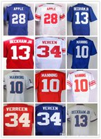 Landon Collins Jerseys 21 Mens Elite 13 Odell Beckham Jr 10 Eli Manning 28 Eli Apple Red Blue White Squadra sportiva maglie
