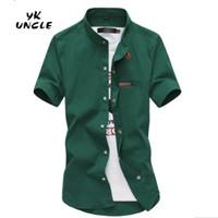 Wholesale lycra shirts wholesale - Wholesale- 2016 Gradient Men Denim Shirts Short Sleeve Camisa Chambray Mens Dress Shirt Collar Button Up Men Shirts Chemise XXXL,YK UNCLE