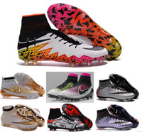 Wholesale Shipping Men Boots - 2016 tf turf Superfly FG AG Soccer Shoes High Ankle Football Boots ACC Men Outdoor Superfly CR7 Cleats With Socks Free Shipping