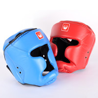 Wholesale helmet gear - 2017 New Pu Leather Boxing Head Guard Headgear Boxing Protection Trainning Helmet Boxing Helmets Free Shipping