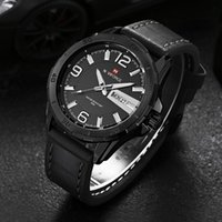 Wholesale Digital Day Clock - NAVIFORCE Men Sports Watches Men's Quartz Hour Date Clock Man Leather Strap Military Army Waterproof Wrist Watch Male