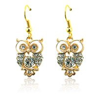 Wholesale Stainless Steel Earring Owl - Fashion Charms Earrings Stainless Steel Hooks Dangle Gold Plated White Rhinestone Owl Earrings For Women Jewelry