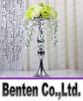 Wholesale Height Stand - Wholesales Height 47cm Wedding Candle Holder Romantic Standing Wedding Candlestick Wedding Flower Stands Silver Candelabra LLFA302