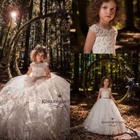 Wholesale Custom Pageant Wear - Lovely Ivory Princess Jewel Neck Girls Pageant Dresses 2018 New Cap Sleeves Lace Appliques Beaded Flower Girls Dress Kids Formal Wear