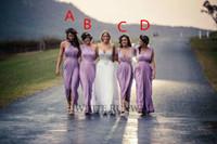 Wholesale Light Purple Wedding Gown Dress - Beautiful Sheath Light Purple Ankle-Length Bridesmaid Dresses Pleated Draped Skirt Formal Bridesmaid Wedding Gowns 2016 Custom