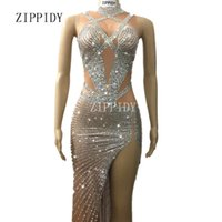 Wholesale nude women costumes online - Sparkly Crystals Long Dress Women s sexy Evening Party Costume Stage Wear Women Silver Rhinestones Nude Color Celebrate Dresses
