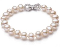 Wholesale South Sea Pearls White Ring - Beautiful 8.5-9mm south seas white pearl bracelet 7.5-8inch 925 silver clasp