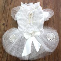 pet jackets princess NZ - Princess Pet dog Wedding dress Cat Puppy Skirt clothes Bling accessories&Bow design 5 sizes XS S M L XL