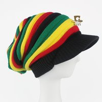 Wholesale Rasta Fitted Hats - NEW Rasta Winter Hats Hip Hop Bob Marley Reggae Jamaican cap Stripe slouchy baggy Beanies Skullies Knitted Hat