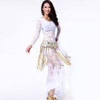 Wholesale Dance Costumes Free Shipping - Sexy Belly Dance Suit For Ladies 5 Colors Full Bud Silk Long-Sleeve Shirt with Pant Set Comfort Dance Costume Free Shipping Suit