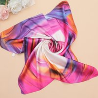 Wholesale Scarves Decorative - Silk scarf women 60*60 The new Brand small high soft squares Decorative multi-functional head scarf Ladies scarves fashion