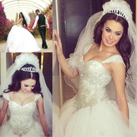Wholesale Sweetheart Strapless Sparkling Wedding Dress - 2016 Sparkling Luxury Princess Ball Gown Wedding Dresses Sweetheart With Straps Crystal Beaded Bodice Back Lace-up Chapel Train Bridal Gowns