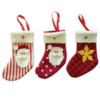 Wholesale Fabric Christmas Tree Ornament - 2016 new arrival Christmas Santa Claus snowflake stocking , knife and fork holder,gift bag Christmas tree ornament