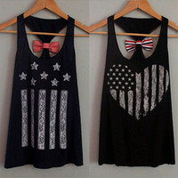 Wholesale Wholesale Womens Bow Tops - Wholesale-2016 Womens Lady Summer Vest Top Sleeveless Casual Tank Tops Bow Cute