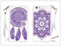 Wholesale Double Side Phone Case - Double Side Embossed Windbell Flower Leather Wallet Phone Case For Iphone 5 se 6 6s plus Samsung Galaxy S6 S7 Edge Stand Card