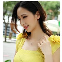 Wholesale Sapphire Yellow Gold Cheap - Austrian Crystal Jewelry Cubic Love Pendant Necklace Earring Set Cheap Jewelry Set Fashion Accessories