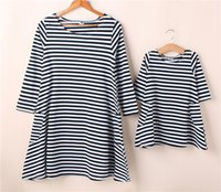 Wholesale Look Fit - New baby and mom dress,girl dress,Family look,women kids pajamas,children clothing,stripe,Family Fitted,family clothing