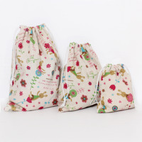 Wholesale Linen Clothes Wholesale - Handwork Cotton Linen Drawstring Bags Makeup Storage Bags Souvenir Gift Grocery Cartoon Home Housekeeping Make Up Jewelry Case Purse