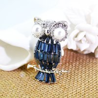 Wholesale Eye Pins For Jewelry - Christmas gift rhinestone brooches OWL with Pearls eye Crystal diamond Alloy Elegant Corsage Brooch jewelry Pins For Women Girls Gift