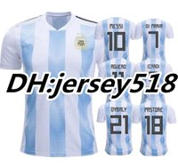 Wholesale Russia Soccer - 2018 World Cup Argentina jersey soccer Jerseys MESSI DI MARIA AGUERO DYBALA HIGUAIN ICARDI Russia Camisetas top thai football shirt Uniforms