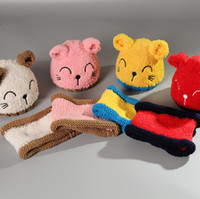 Wholesale Cat Hat Plush - Cartoon Cat Winter Baby Hat with Ears Plush Lining Warm Beanie Baby Cap and Scarf for 0-3 years Multicolor