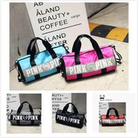 Wholesale Canvas Art Shop - NEW Pink Handbags Large Capacity Travel Handbags Duffle Striped Waterproof Beach Bag Shoulder Bag Shopping Bags