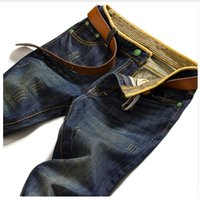 Wholesale Men Belts Pants - Wholesale-Men's Famous Brand Trousers Jeans Designer Jeans Men High Quality Denim Pants (without belt)