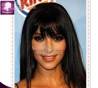 Wholesale Celebrity Hairstyle Human Wig - Perfect silky straight human hair front lace wig with bangs Malaysian celebrity wigs 130density glueless full lace wig with natural hairline