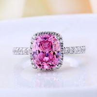 anéis de noivado de safira para mulheres venda por atacado-Vecalon 2016 Marca de Moda de safira rosa Cz anel de diamante 925 Sterling Silver Wedding Band Anel de Noivado para As Mulheres presente