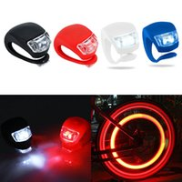 Wholesale Silicone Bike Light Wholesale - Brand New Silicone Bike Bicycle Cycling Head Front Rear Wheel LED Flash Light Lamp Free Shipping