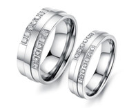 Wholesale Couples Ring Sets Cheap - Wholesale Brand Lovers' Stainless Steel Wedding Bands Fashion Crystal Stone Women Men Finger Rings Jewelry Cheap Price Lovers Rings 426