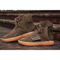 Wholesale Wholesale Men Cowboy Boots - Originals Boost 750 CLAIR MARRON LT.BROWN Kanye West Boosts 2017 Newest Discount BY2456 750 Boots Men Fashion Casual Shoes Sneakers