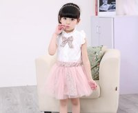 Wholesale cute bow tie - Baby Outfits Suits Summer Girls Sets Lace Floral Clothes Bow Tie White Tops Floral Tulle Skirt Sets Girls Clothing Baby Girls Clothes
