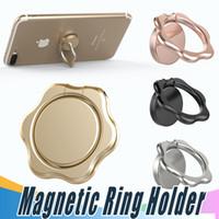 metall stieg blumen großhandel-Fingerring Magnethalter Blume Metall Original 360 Grad Handy Universal Ständer Halter Fit für magnetische Smartphone