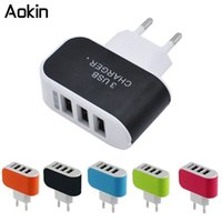 Wholesale Wall Chargers For I Phones - dhgate 3 Ports Multiple Wall USB Smart Charger 5V 3A EU Plug Adapter Mobile Phone Device Fast Charging Newest for i phone Samsung