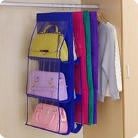Wholesale Hanging Shoe Racks - Wholesale- Family Organizer Backpack handbag Storage Bags Be Hanging Shoe Storage Bag High Home Supplies 6 Pocket Closet Rack Hangers