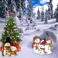 Wholesale Outdoor Photography Backdrops - Outdoor Winter Scenic Photography Backdrops Vinyl Fabric Thick Snow Covered Pine Trees Christmas Tree Snowman Photo Studio Background