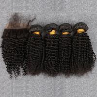 ingrosso capelli ricci 4pc-7A Capelli vergini brasiliani con chiusura 4pc Prodotti per capelli a spicchi con chiusura di seta Capelli vergini crespi brasiliani con chiusura