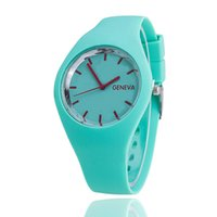 Wholesale Square Jelly - Free shipping Ultra-thin, Geneva, Geneva candy color silicone watches ms student leisure jelly silicone watches wholesale