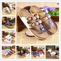 Wholesale Designer White Sandals For Women - 2016 New Summer Designer Women Sandals Lovers PU Leather Corks Sole Beach Slippers Sandals For Women Fashion Couple Clogs Flip Flops Shoes