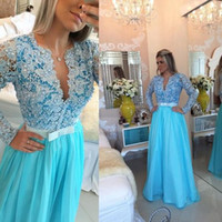 Wholesale Ice Blue Chiffon - Ice Blue Long Sleeves Prom Dresses V Neck Pearl Appliques Lace Chiffon Floor Length Evening Gowns Plus Size Formal Dresses Illusion Back
