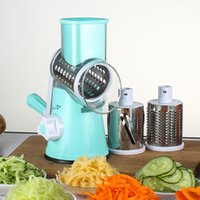 Wholesale Manual Vegetable Cutters - Round Mandoline Slicer Vegetable Cutter Manual Potato Julienne Carrot Slicer Cheese Grater Stainless Steel Blades Kitchen Tool
