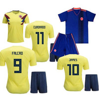 Wholesale Free Shipping Colombia - World Cup 2018 Camisetas de Futbol Men Colombia Cheap Low Price Top Quality Soccer jerseys Set blue Shirt Shorts football pant free shipping