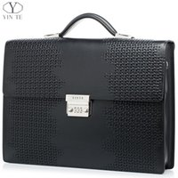 others black attache case - YINTE Men s Briefcase Leather High End Business Briefcase Messenger Laptop Case Attache Bag Cow Leather Portfolio Tote