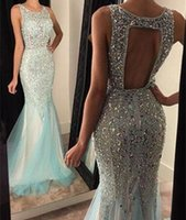 Wholesale Desses Evening - 2016 Sexy Mermaid Mint Green Tulle Full Beaded Backless Custom Crystal Corset Long Evening Prom Desses