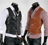 Wholesale Best Leather Coats - 2017 Slim Businessman Vests Stylish Wedding Groom Waistcoat V-neck Fur Leather Best Man Groomsmen Business Man Vests Outerwear Coats Suits